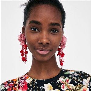 Flower Statement Earrings Red